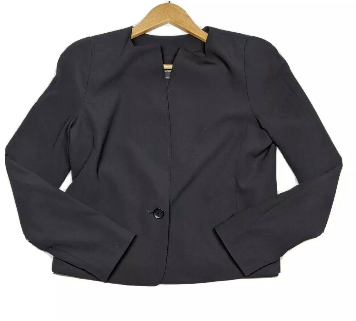 BCBG Max Azria 'Jordyn' Stylish Collarless Blazer Jacket M Black Padded Shoulder