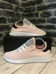 83fc66d45 Adidas Originals Deerupt Runner Trainers UK Size 9 Coral White Black ...