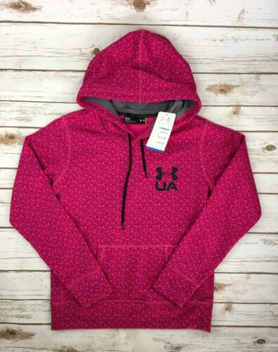 Womens Under Armour Hoodie Coldgear Printed Pullover Magenta Sweatshirt S M L XL