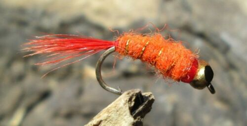 Goldkopfnymphen Fluor Orange GILCHRIST FLIEGEN 3 Stück von einer Größe