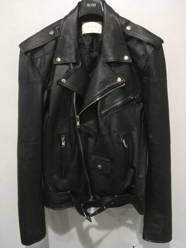 Deadwood Mens Biker Recycled Leather Jacket Black