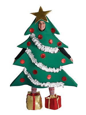 Green Christmas Tree Fancy Dress Costume Ladies Mens One Size Xmas Nativity New