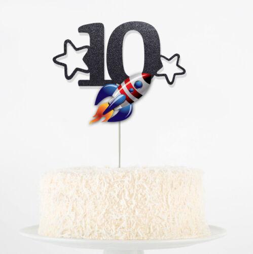 Personnalisé Anniversaire Age Die Cut paillettes votre propre âge Party Cake Topper Rocket forme