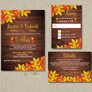 Details About 100 Personalized Fall Wedding Invitations Suite With Envelopes Detail Cards