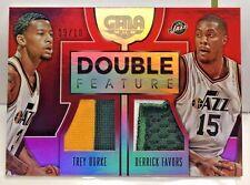 Trey Burke / Derrick Favors 2015-16 Panini GALA Dual 3 color GU Patch #'d 9/10