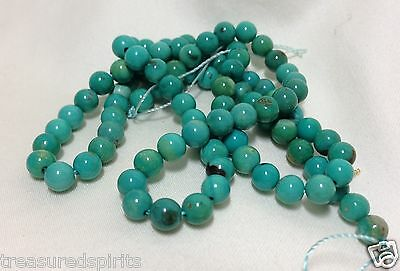 16 inch Strand Genuine Turquoise 4mm rounds (Approx 90 beads) Stabilized