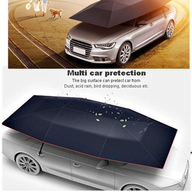 Portable Semi Automatic Car Umbrella Sun Shade Roof Cover Uv Protection Black