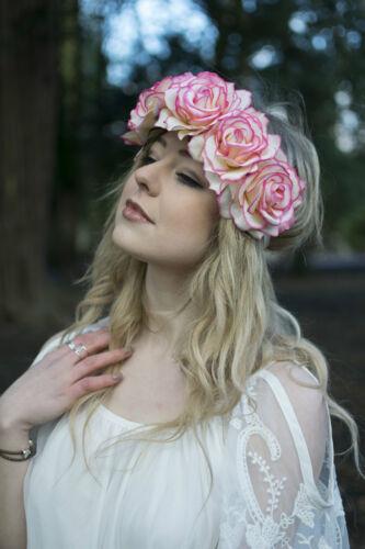 Cream Pink Rose Flower Headband Garland Vintage Hair Crown Festival Boho Big P67