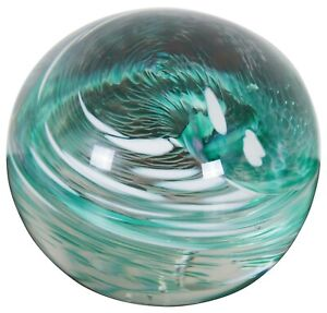 1993 Signed Studio Art Glass Round Swirl Orb Paperweight Sea Green & White 3""