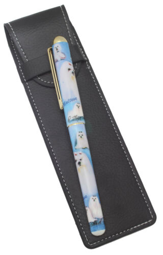Maltese Breed of Dog Themed Pen with Pen Case Perfect Gift