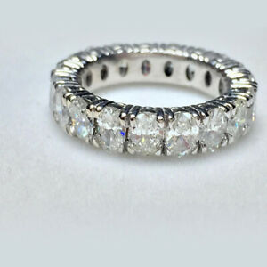 5.26 Ct Oval Cut Moissanite Engagemant Eternity Band Solid 18K White Gold Size 6