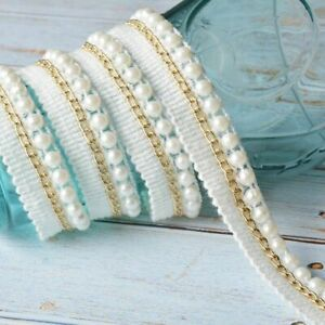 2yds Vintage White Beaded Pearl Ribbon Lace Edging Trim DIY Costume Applique