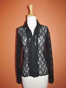 Ralph Lauren Womens Size PP Black Lace Ruffle Front Shirt Blouse