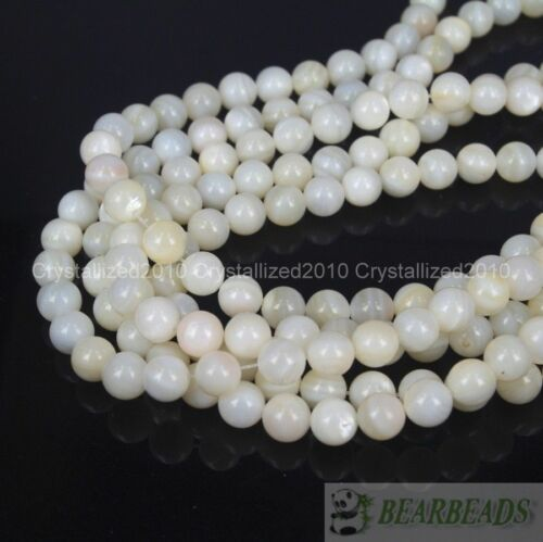 """Natural White Mother Of Pearl MOP Shell Round Beads 4mm 6mm 8mm 10m 12mm 16/"""""""