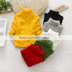 c7af870c34de Baby Boys Girls Knitted Jumper Warm Winter Pullover Turtleneck ...