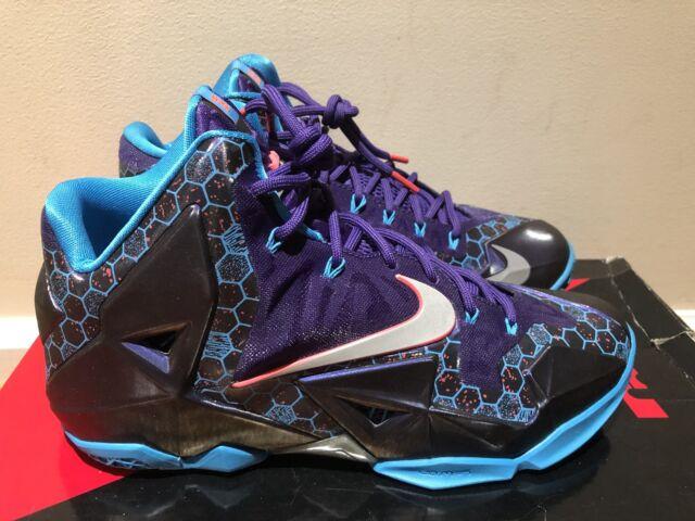 48cf61f54c80c Nike LEBRON XI 11 SUMMIT LAKE HORNETS PURPLE SILVER BLUE BLACK 616175-500  9.5