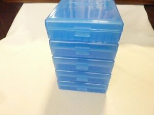 357 / 38 Ammo boxes / cases (5 PACK) BLUE color 500 rnds of storage 38 / 357