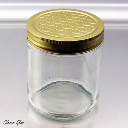 80 Honiggläser 500g mit Schraubdeckel Waben Goldfarbenmuster nach Wahl