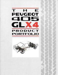 """Ordonné Peugeot 405 Gal X4 Portefeuille De Produits """"sales Brochure"""" Mai 1989-afficher Le Titre D'origine Peut êTre à Plusieurs Reprises Replié."""