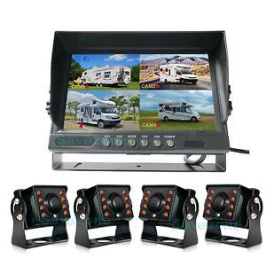 "4x HD 1080P 8 LEDs Reversing Rear View Camera Kit + 9"" IPS 4CH Split DVR Monitor"