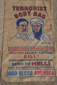 Burlap Terrorist Saddam /& Osama Bin Laden Body Bag Mancave Patriotic Memorabilia