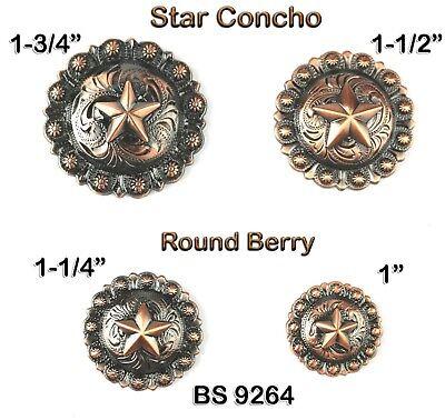3//4  INCH ROUND  ANTIQUE COPPER BERRY CONCHOS