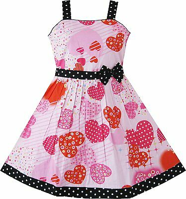 Sunny Fashion Girls Pink Heart Print Bow Tie Party Dress 4 5 6 6X 7 8 9 10 11 12
