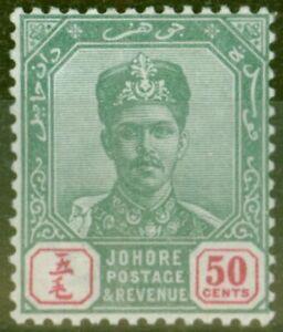 Johore-1898-50c-Vert-amp-Carmin-SG48-V-F-Tres-Legerement-MTD-Excellent-Etat