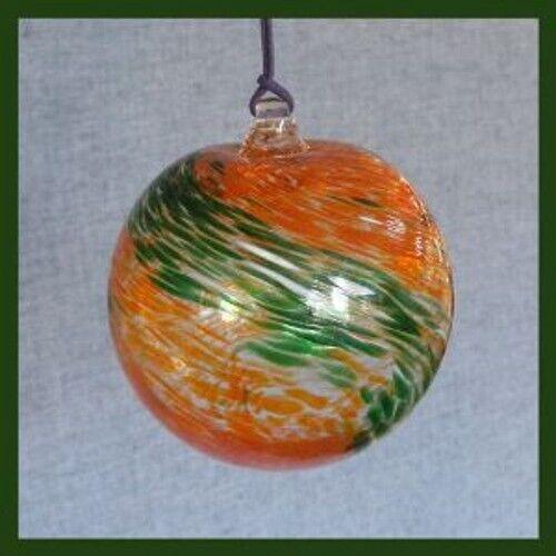 Hanging Glass Ball 4 Diameter Orange & Green Swirls (1) HB44-2