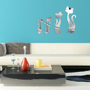 Wall Art Silver Mirror Sticker Cats Design Decal ...