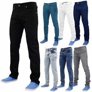Para-hombres-Calce-Ajustado-Elastico-Basicos-Denim-Pantalones-Pantalones-Vaqueros-todos-los-tamanos