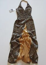 NWT Tony Bowls Evenings Satin Leopard Beaded Ruched Halter Prom Gown Dress 6