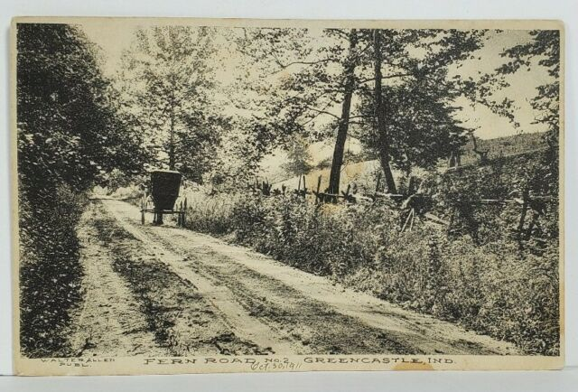 IN Greencastle Indiana Fern Road c1911 Horse Buggy to Hollis LI NY Postcard M20
