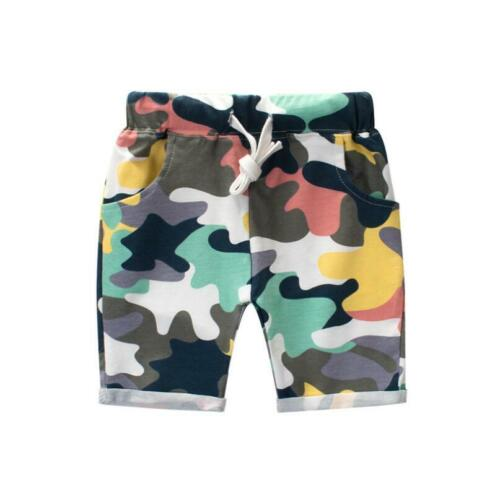 1-8 Years Kids Boys Toddler 100/% Cotton Casual Camouflage Shorts Short Pants