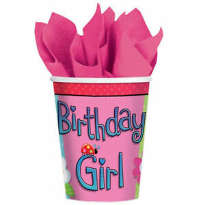 Amscan-8-Pack-GARDEN-GIRL-Pink-Birthday-Paper-Drinking-Cups-Party-Table-9oz
