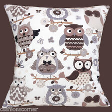 """NEW STOF OWLS FABRIC BROWN BEIGE CREAM ON OFF WHITE 16"""" Pillow Cushion Cover"""