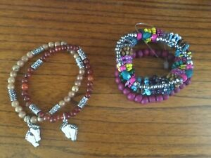 Set-of-5-Stackable-Multicolor-Beaded-Stretch-Bracelets-Footprints-Charm-509