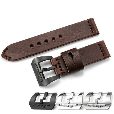 24mm Brown Genuine Leather Watch Band Strap Submarine PVD Buckle For U-Boat Mens