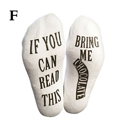 Women Men Thermal Novelty Funny Socks If You Can Read This Bring Me Wine Letter