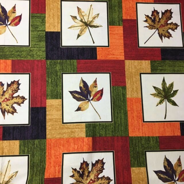 Maple Leaf Autumn Patchwork Sewing Quilting Fabric Floral  110cm x 39cm