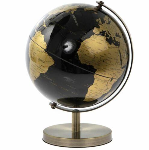 19 cm Black /& Gold globe rotatif Atlas Rétro Maison Ornement étude DECOR monde