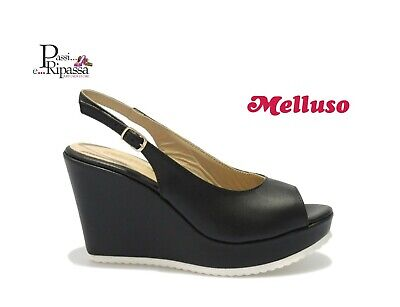 Scarpe sandali Melluso da donna in pelle con cinturino zeppa alta neri casual | eBay