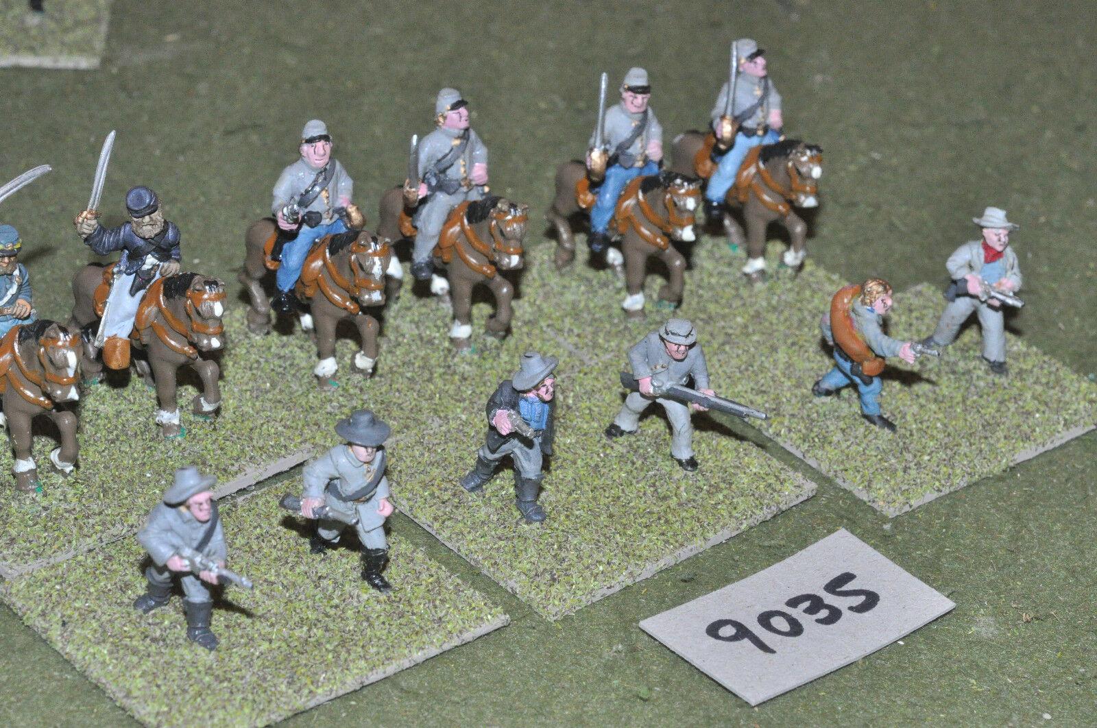 25mm ACW   confederate - civil war 12 cav dismounted figs metal - cav (9035)