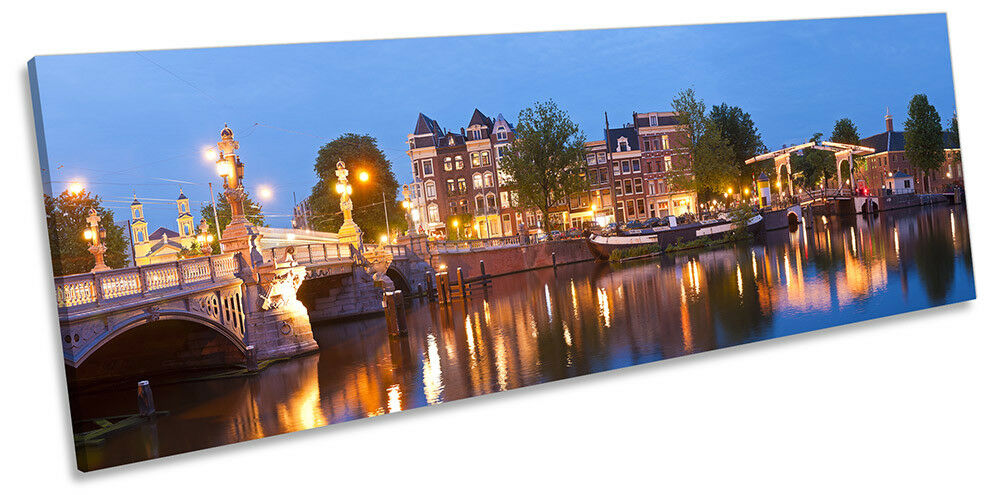 Amsterdam River River River Skyline Picture PANORAMA CANVAS WALL ART Print 8548fa