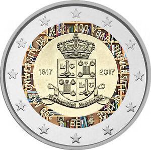 2-Euro-Gedenkmuenze-Belgien-2017-coloriert-mit-Farbe-Farbmuenze-Univ-Luettich