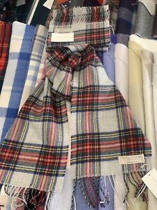 Lochcarron-100-Lambswool-tartan-Scarf-Stewart-Dress-Grey-Made-in-Scotland