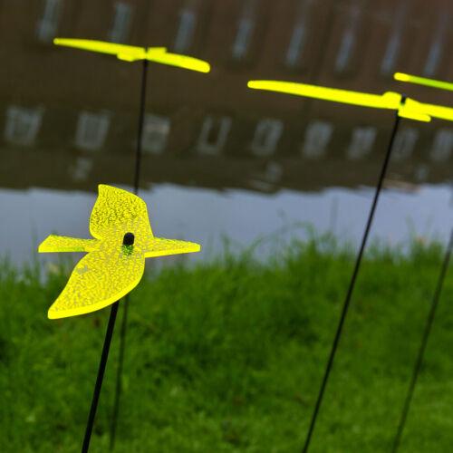 3 Stück SUNPLAY Sonnenfänger Ø10cm Suncatcher Gartenstecker Vögel GELB