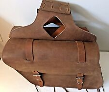 "New genuine brown cowhide leather motorcycle saddle bags 13""x 10""x 5""made USA"