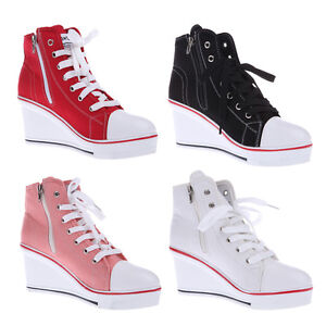 Popula rWomen Shoes Canvas High Top Wedge Heel Lace Up Fashion Sneakers US 6-9