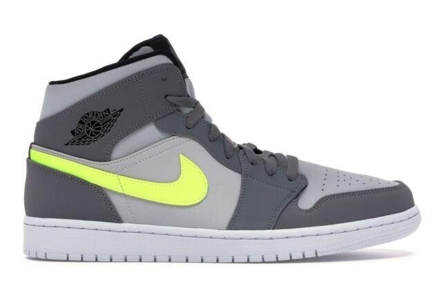 Aj1 Yellow Gunsmoke Neon Jordan 1 Men Grey Volt 554724 Nike Mid 072 I Air Retro rdQhCts